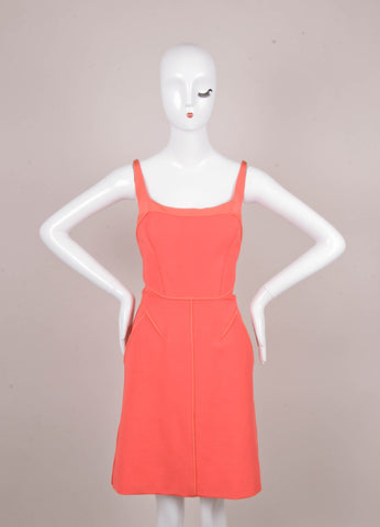 New With Tags Coral Pink Stretchy Seamed U Neck Jersey Dress