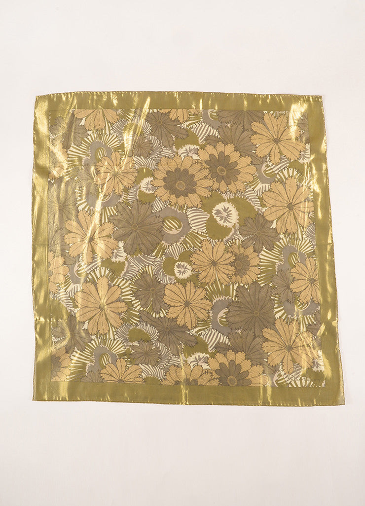 Burberry Gold Metallic Sheer Floral Scarf Frontview