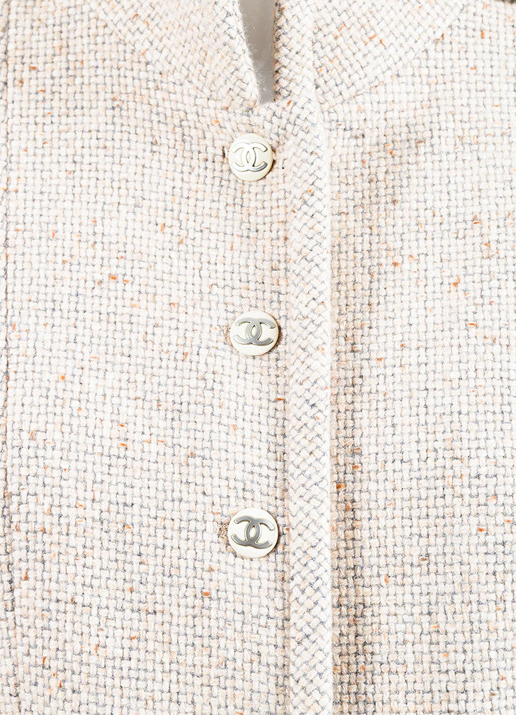 Chanel Beige and Grey Cashmere Tweed 'CC' Enamel Button Piping Jacket Detail