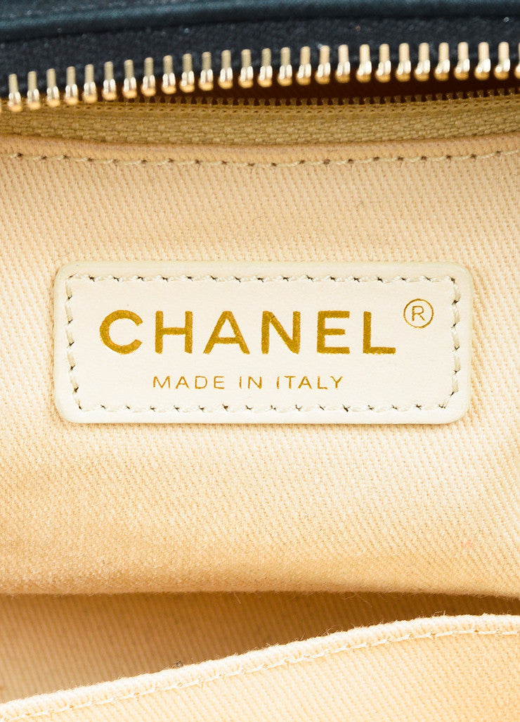 "Chanel Black and Gold Toned Iridescent Leather Chain ""Large Chic Quilt Bowling"" Bag Brand"