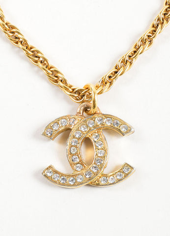 "Chanel Gold Toned Chain Link ""CC"" Rhinestone Embellished Pendant Necklace Detail"