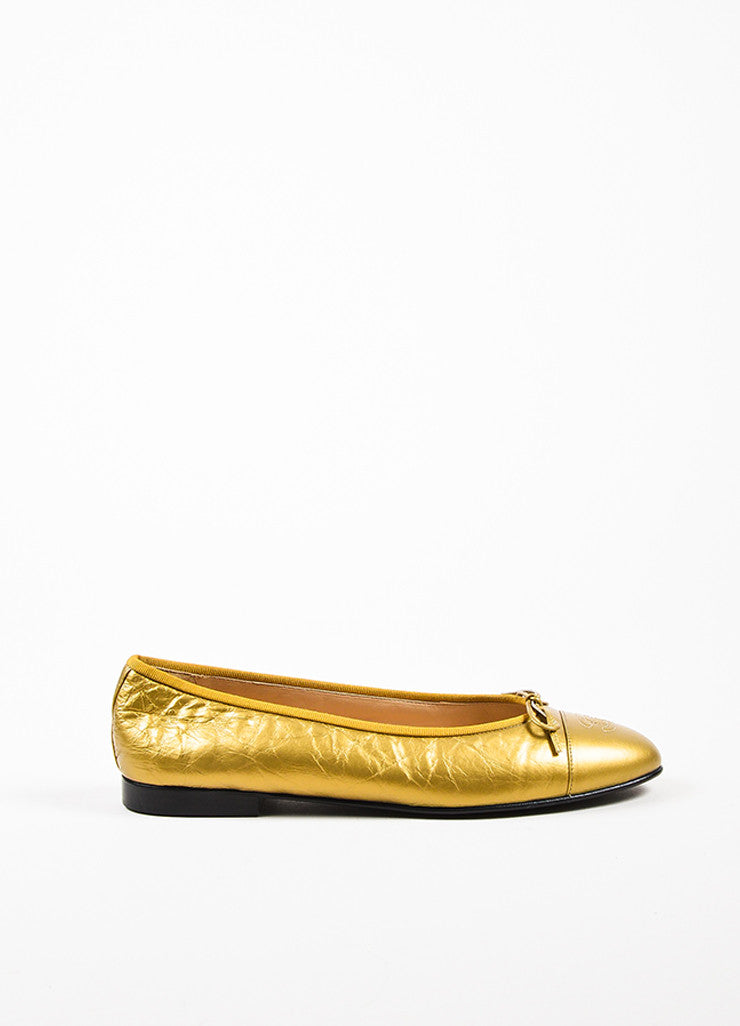 Gold Chanel Wrinkled Leather 'CC' Logo Bow Ballet Flats Side