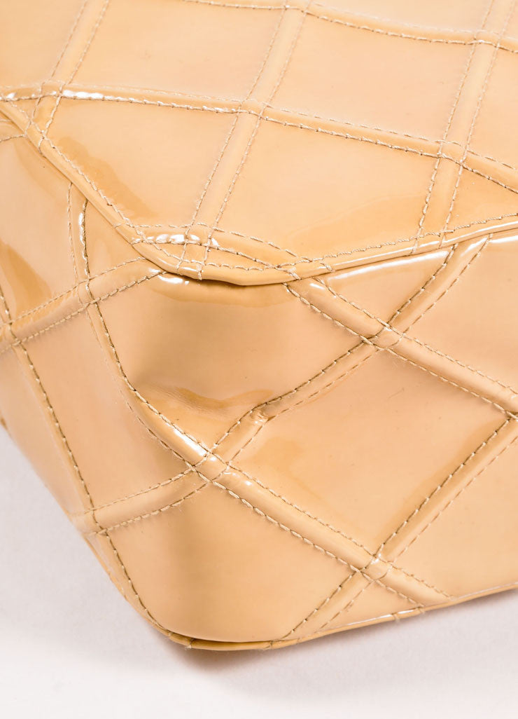 Chanel Tan Quilted Patent Leather Shoulder Bag Detail