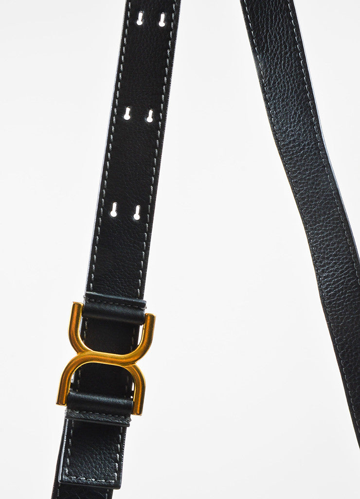 "Chloe Black Grained Leather Saddle Crossbody ""Marcie"" Bag Detail 2"