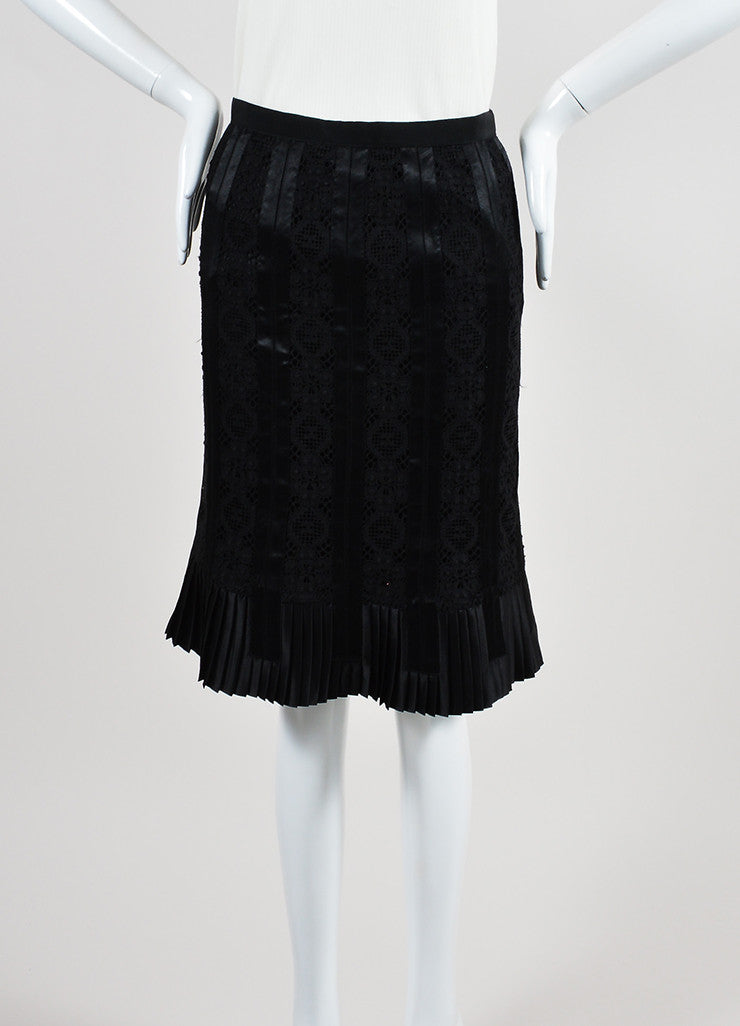 Black Dolce & Gabbana Silk Knit Lace Satin Trim Pleated Pencil Skirt Frontview