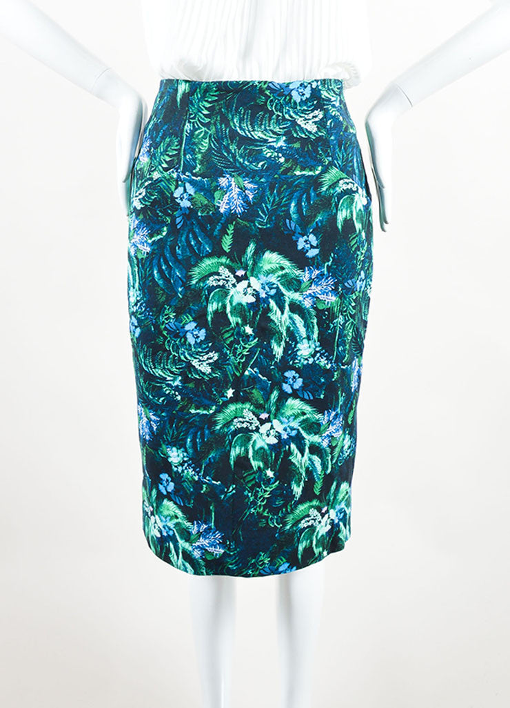 Erdem Green and Blue Tropical Floral Print Pencil Skirt Frontview