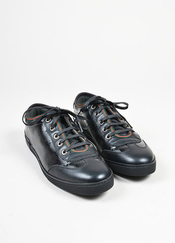 "Black Gucci Leather Canvas ""Barcelona"" GG Monogram Lace Up Trainers Frontview"