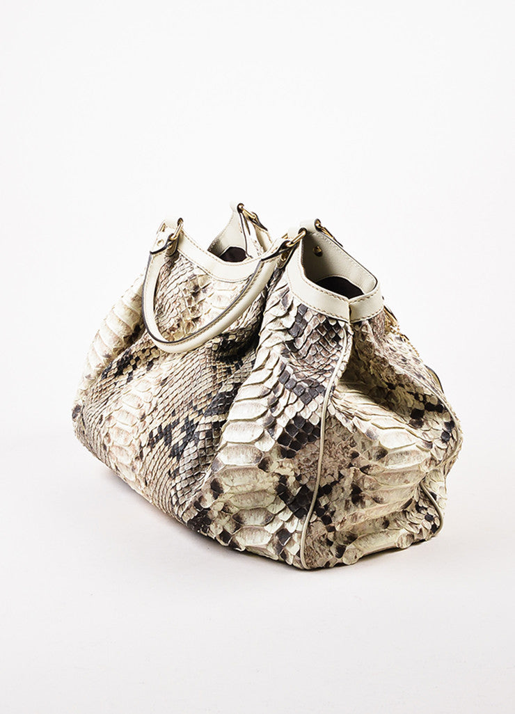 "Gucci Cream and Brown Python Leather Large ""Sukey"" Hobo Bag Sideview"
