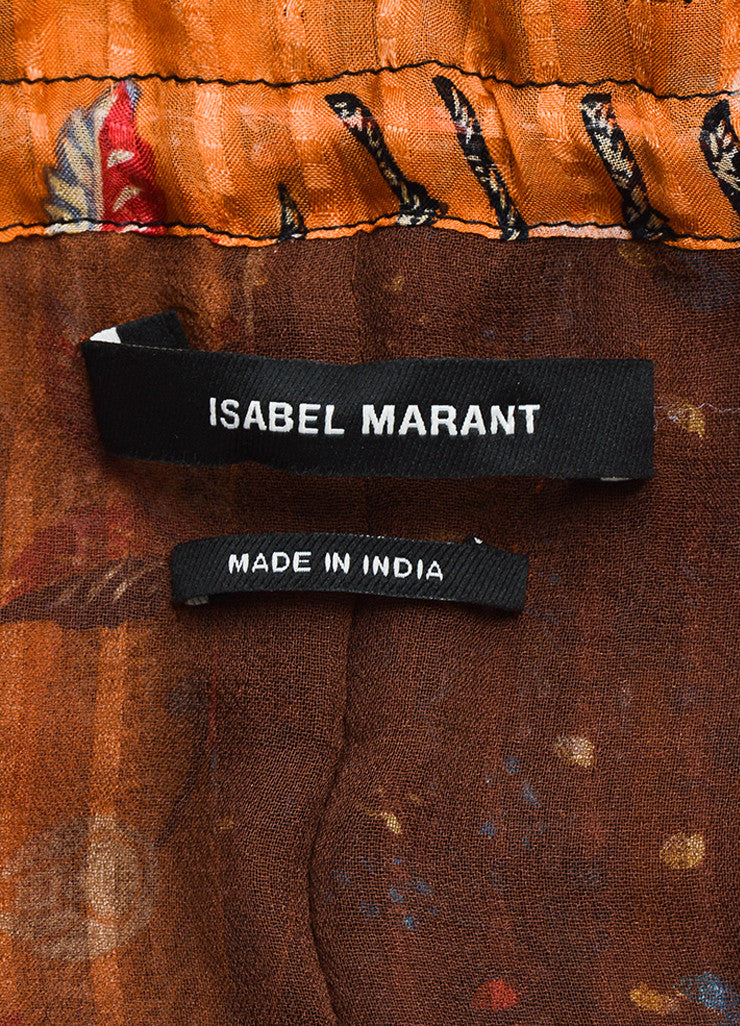 "Isabel Marant Brown Silk Mixed Print Sleeveless ""Alibay"" Dress Brand"