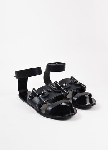 Lanvin Black Studded Leather Open Toe Ankle Strap Flat Sandals Front