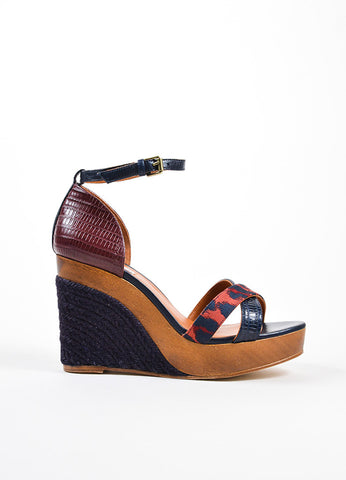 Black and Brick Red Lanvin Lizard and Wood Espadrille Wedge Sandals Sideview