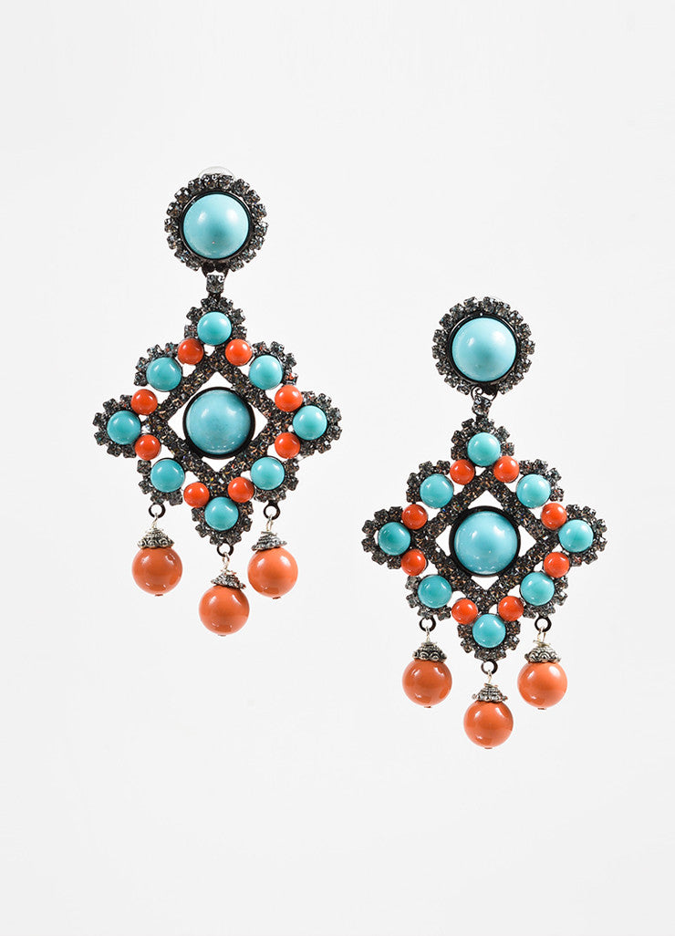 Lawrence Vrba Turquoise and Coral Beaded Crystal Accent Chandelier Clip On Earrings Frontview