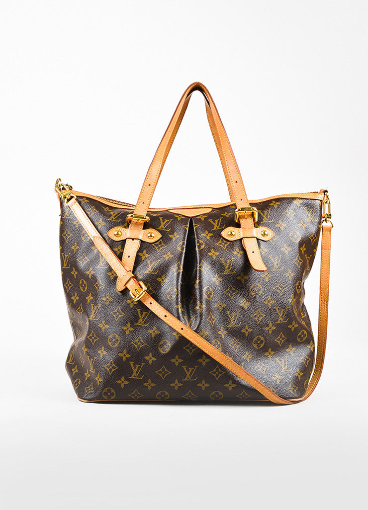 "Louis Vuitton Brown and Tan Coated Canvas Monogram Canvas ""Palermo GM"" Bag Frontview"