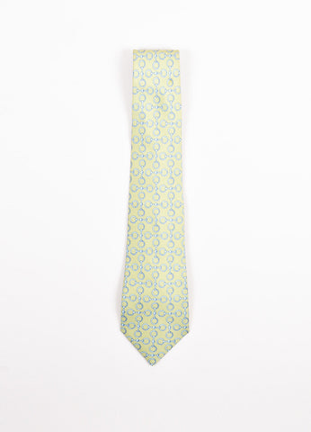 Men's Hermes Green and Blue Silk Horsebit Print Necktie