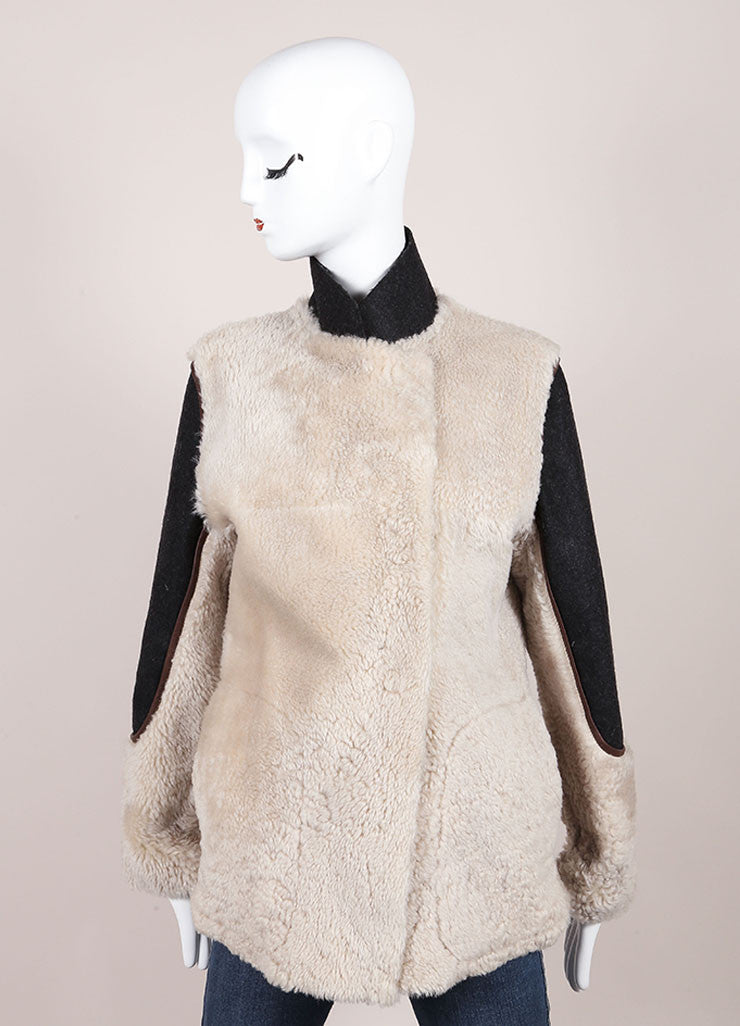 Marni Grey, Cream, and Brown Leather Shearling Fur Coat Frontview