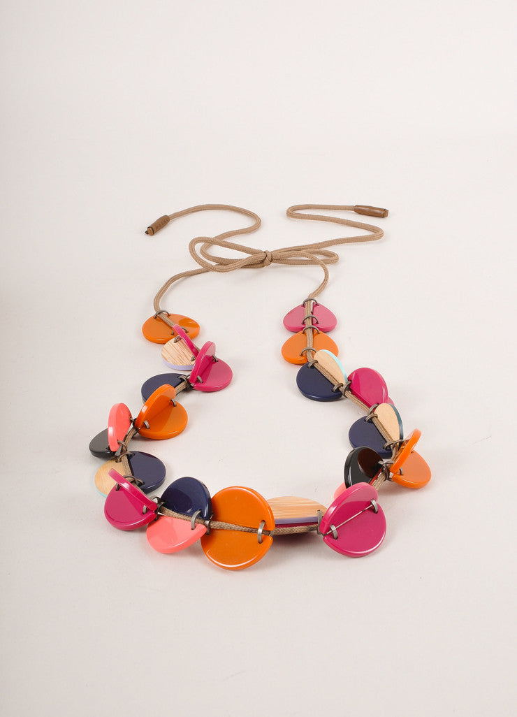 Marni Pink and Orange Wood and Plastic Cord Necklace Sideview