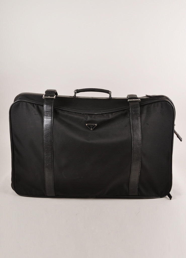 Prada Black Nylon With Leather Trim Buckled Large Rolling Suitcase Frontview