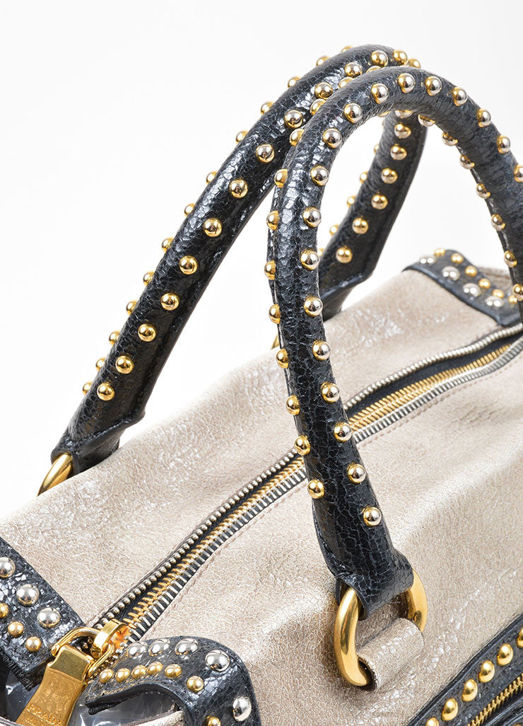 Grey and Black Gold and Silver Toned Prada Cracked Leather Craquele Studded Tote Bag Detail 2