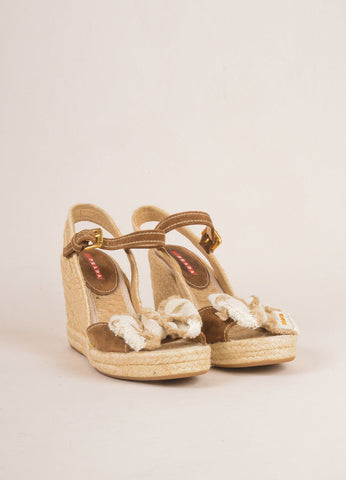 Prada Sport Brown and Tan Suede and Linen Raffia Bow Braided Espadrille Wedges Frontview