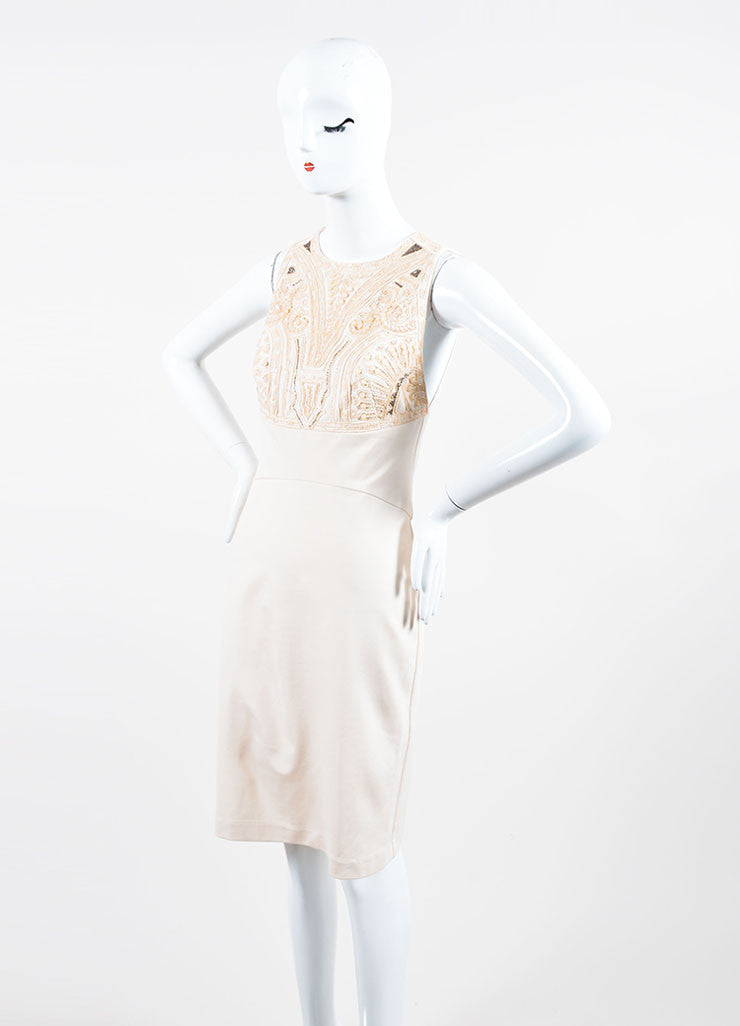Blush Pink Roberto Cavalli Embellished Bodice Sleeveless Dress Sideview