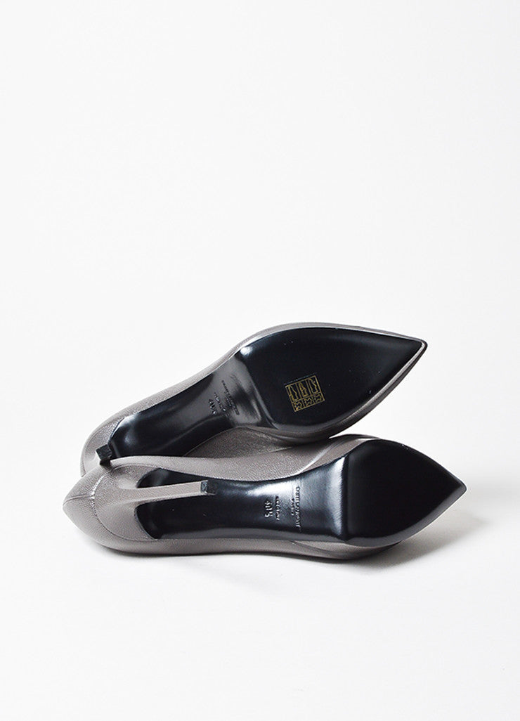 "Saint Laurent ""Road Gray"" Leather Point Platform ""Janis"" Pumps Outsoles"