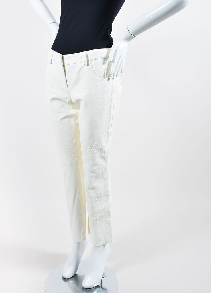 The Row White Lambskin Leather Straight Leg Pants Sideview