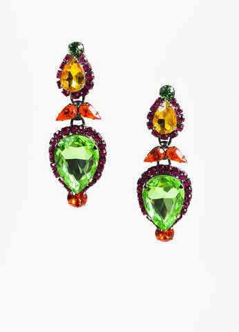 Thorin & Co Timothy Szlyk Green, Pink, and Orange Rhinestone Clip On Drop Earrings Frontview