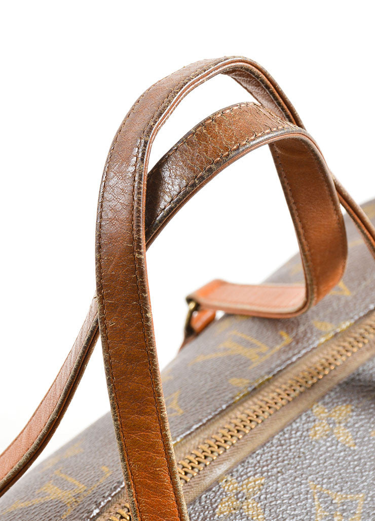 "Louis Vuitton Brown Coated Canvas and Leather Monogram ""Papillon 30"" Bag Detail 2"
