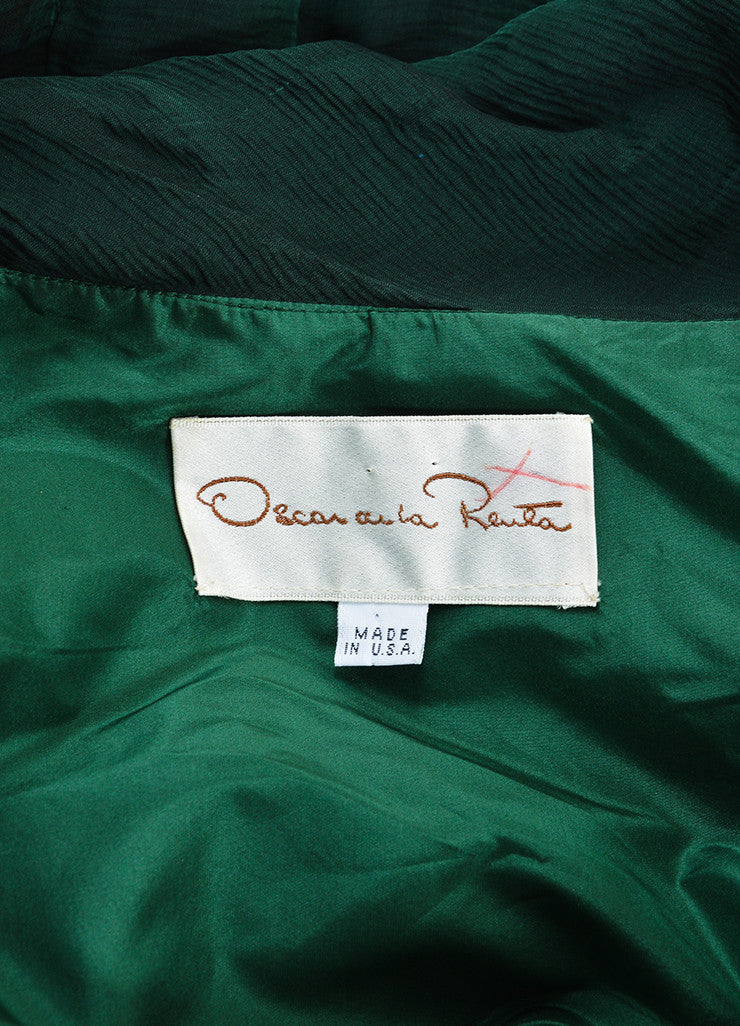Oscar de la Renta Emerald Green Silk Chiffon Long Sleeve Gown Brand