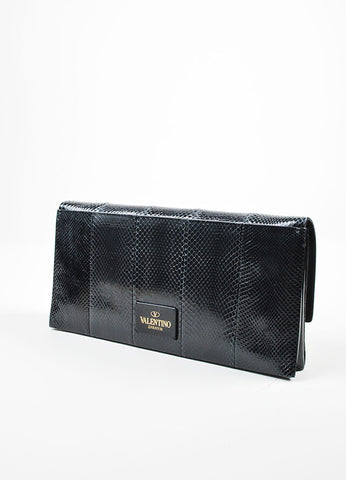 Black Valentino Snakeskin Leather and Pony Hair Rectangle Clutch Bag Sideview