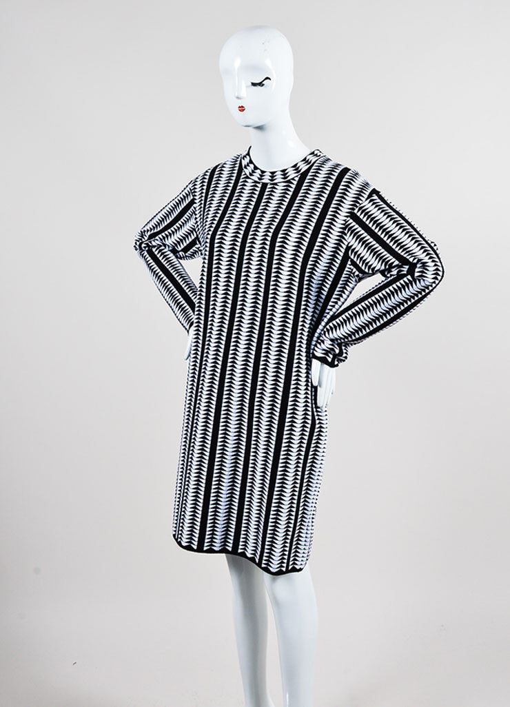 Black and White Alaia Wool Blend Stretch Knit Geometric Print Dress Sideview