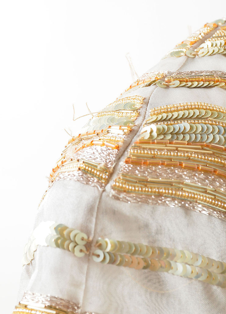 Bibhu Mohapatra Beige Silk and Gold Sequin Beaded Cap Sleeve Gown Detail 2