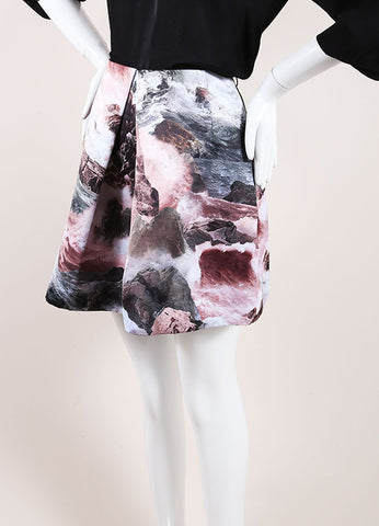 Carven New With Tags Multicolor Abstract Print Pleated Satin A-Line Skirt Sideview