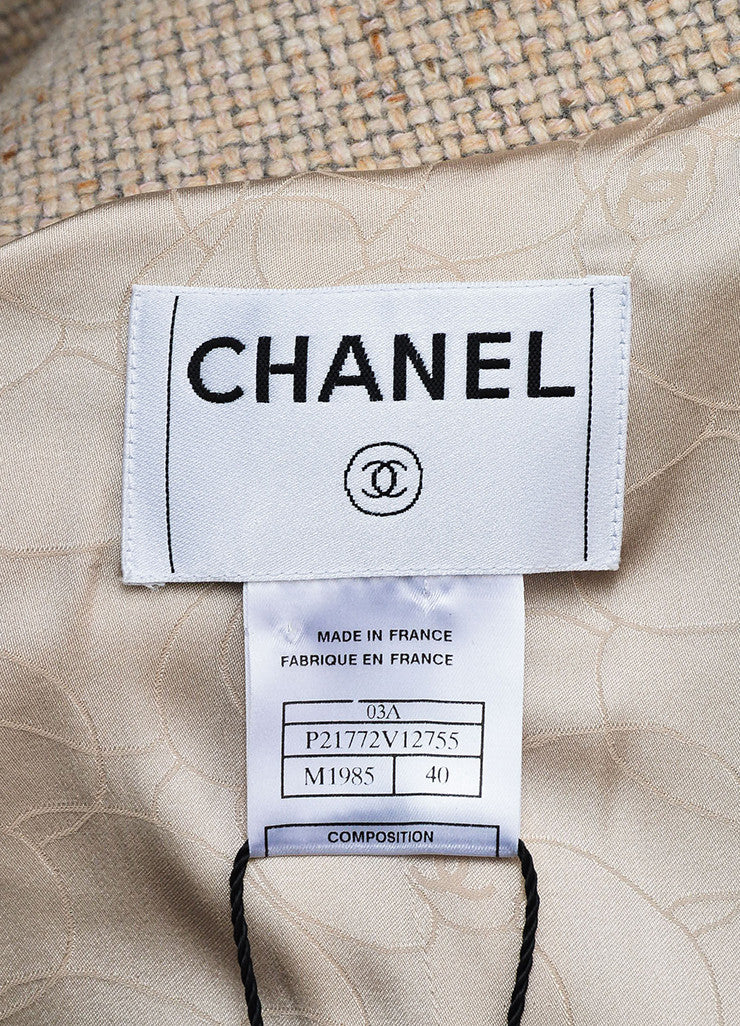 Chanel Beige and Grey Cashmere Tweed 'CC' Enamel Button Piping Jacket Brand