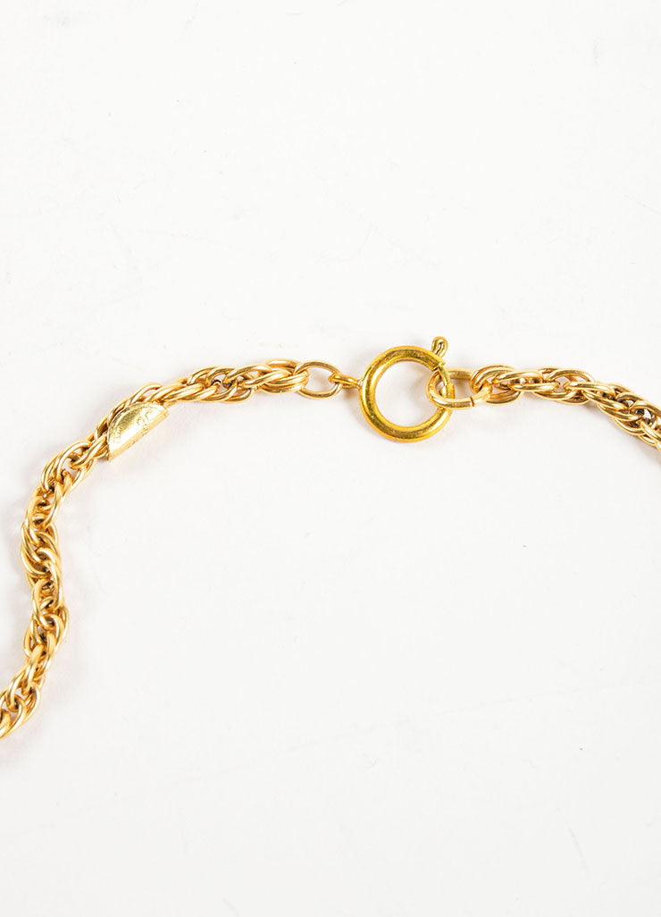"Chanel Gold Toned Chain Link ""CC"" Rhinestone Embellished Pendant Necklace Closure"