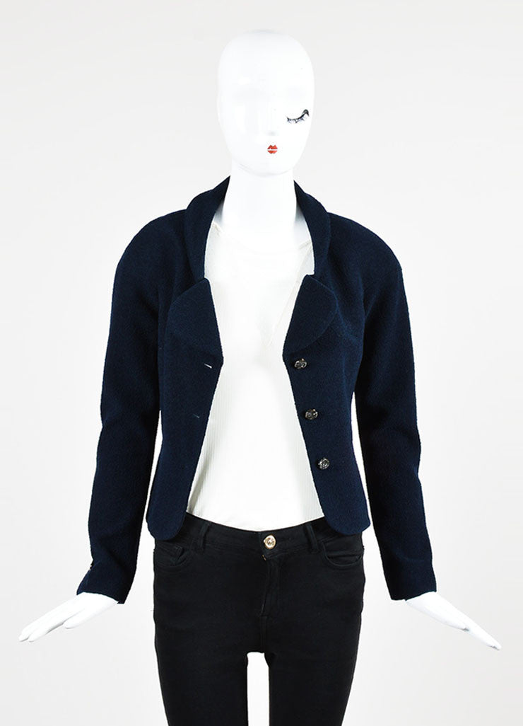 Chanel Navy Blue Wool and Silk Rhinestone Embellished Three Button Jacket Frontview