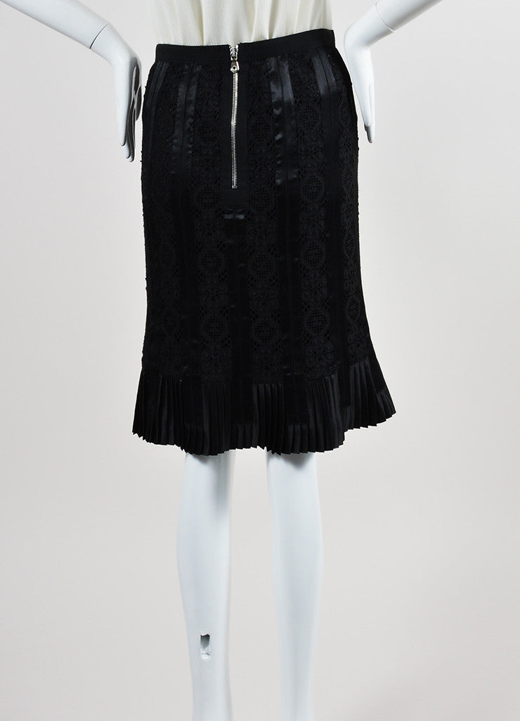 Black Dolce & Gabbana Silk Knit Lace Satin Trim Pleated Pencil Skirt Backview
