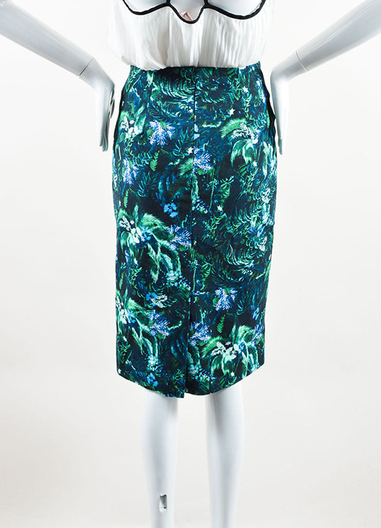 Erdem Green and Blue Tropical Floral Print Pencil Skirt Backview