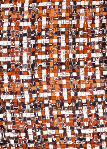 "Brown and White Hermes Patchwork Logo Print ""Bolduc au Carre"" Square Shawl Scarf Detail"