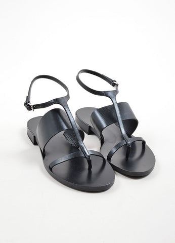 Black Jil Sander Leather Ankle Strap Thong Flat Sandals Front