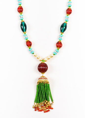 Lawrence VRBA Green, Red, and Teal Faux Pearl Tassel Pendant Necklace Detail