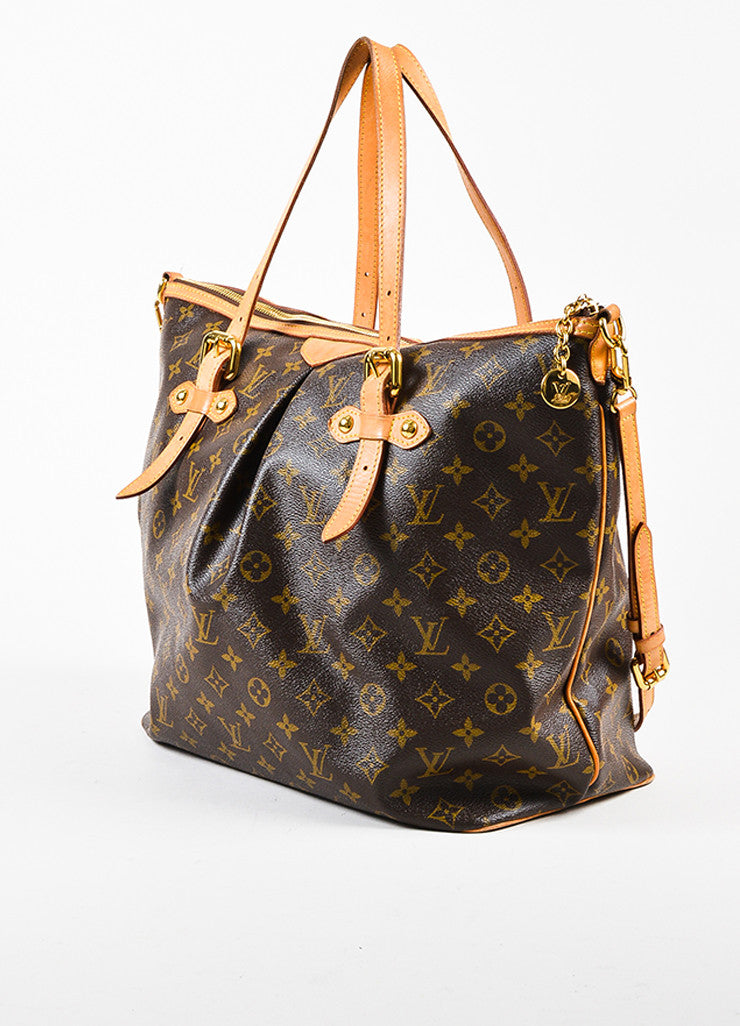 "Louis Vuitton Brown and Tan Coated Canvas Monogram Canvas ""Palermo GM"" Bag Sideview"