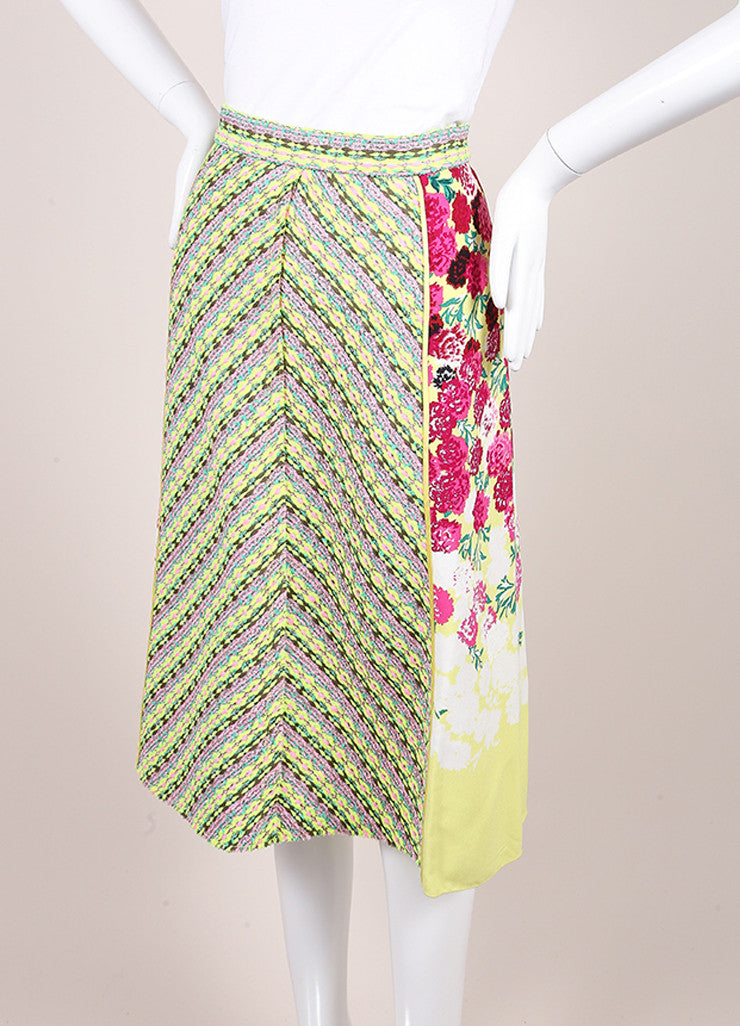 Marc Jacobs New With Tags Multicolor Floral Print Tweed Trim A-Line Crepe Skirt Sideview