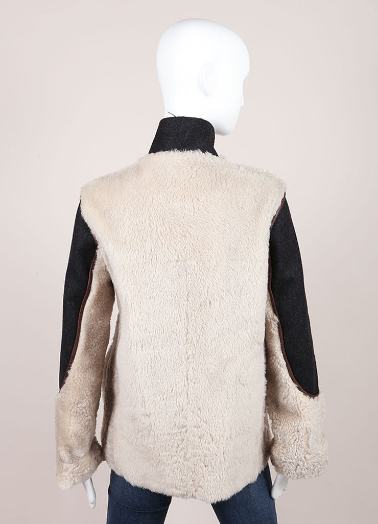 Marni Grey, Cream, and Brown Leather Shearling Fur Coat Backview