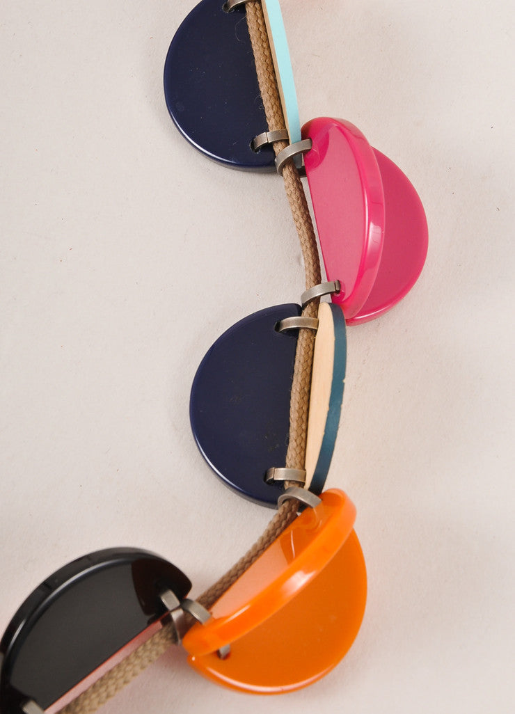 Marni Pink and Orange Wood and Plastic Cord Necklace Detail