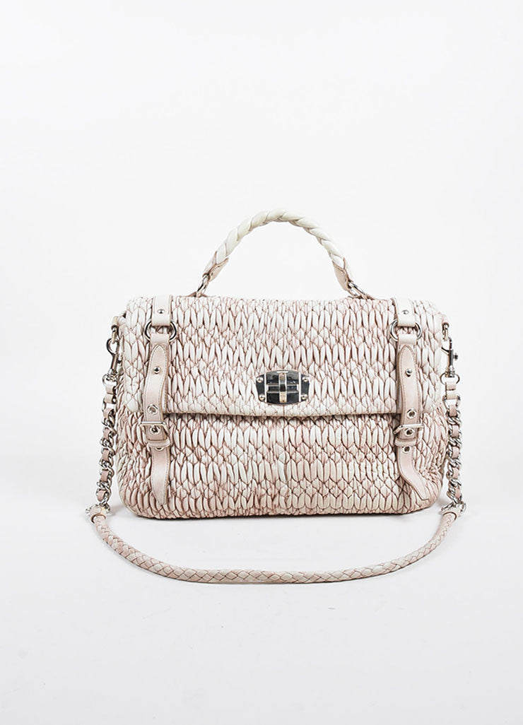 "Beige Miu Miu ""Gaufre"" Nappa Leather Chain Strap ""Large Cloquet"" Satchel Bag Frontview"