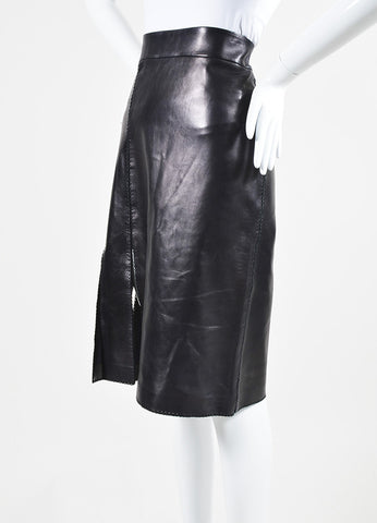 Black Nina Ricci Leather Stitched Pencil Skirt Sideview