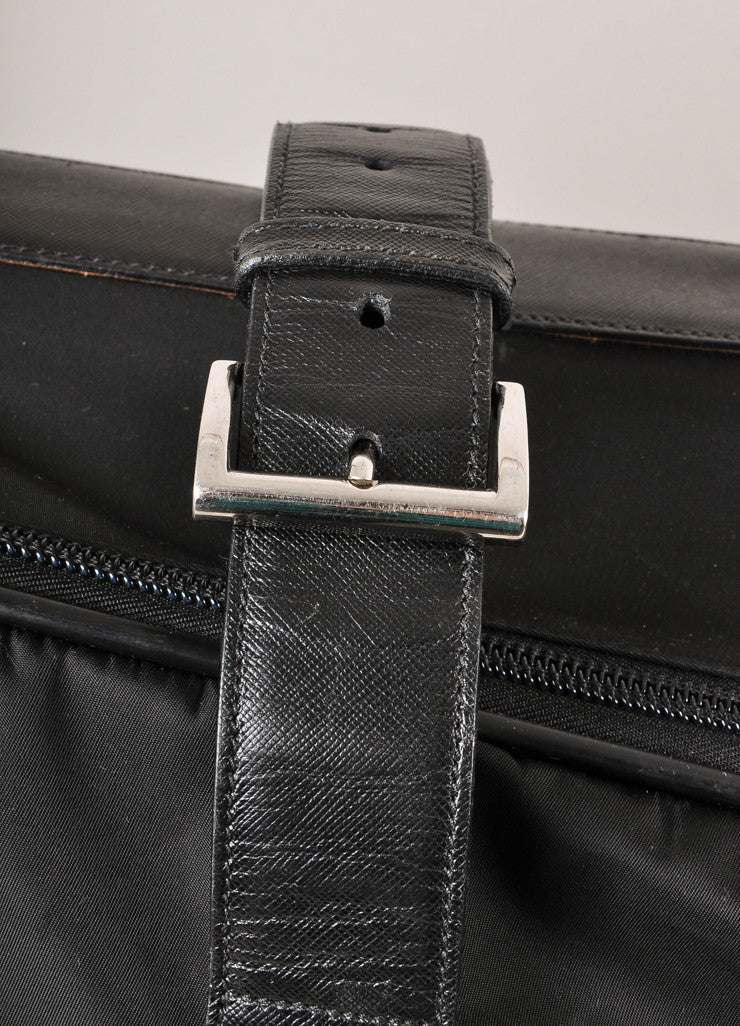 Prada Black Nylon With Leather Trim Buckled Large Rolling Suitcase Detail 3