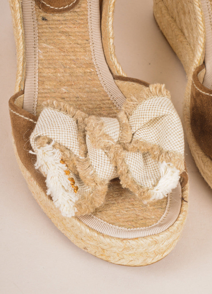 Prada Sport Brown and Tan Suede and Linen Raffia Bow Braided Espadrille Wedges Detail