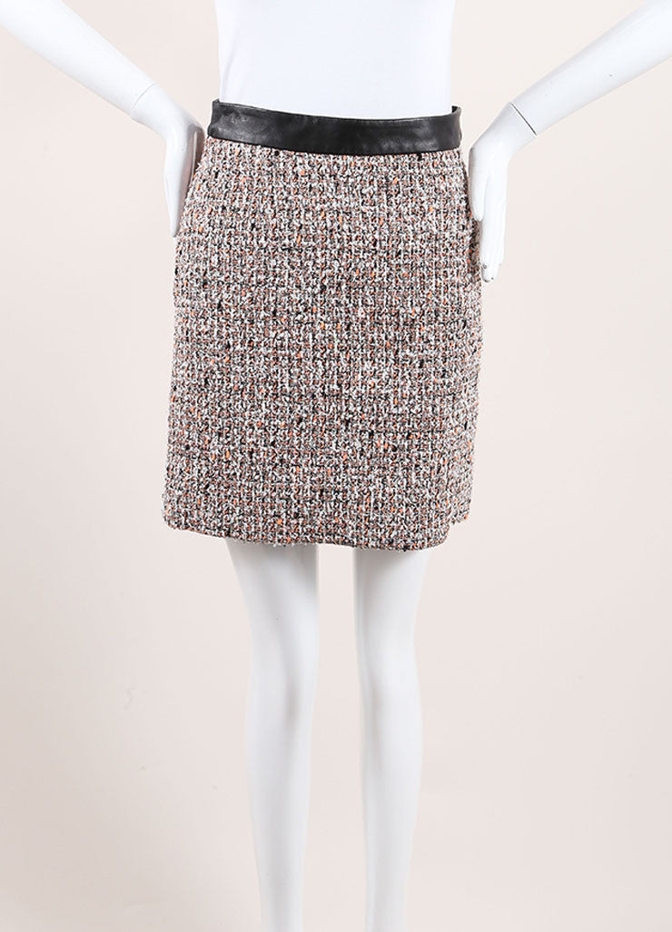 Proenza Schouler Neon Orange, Black, and White Tweed Leather Trim Skirt Frontview